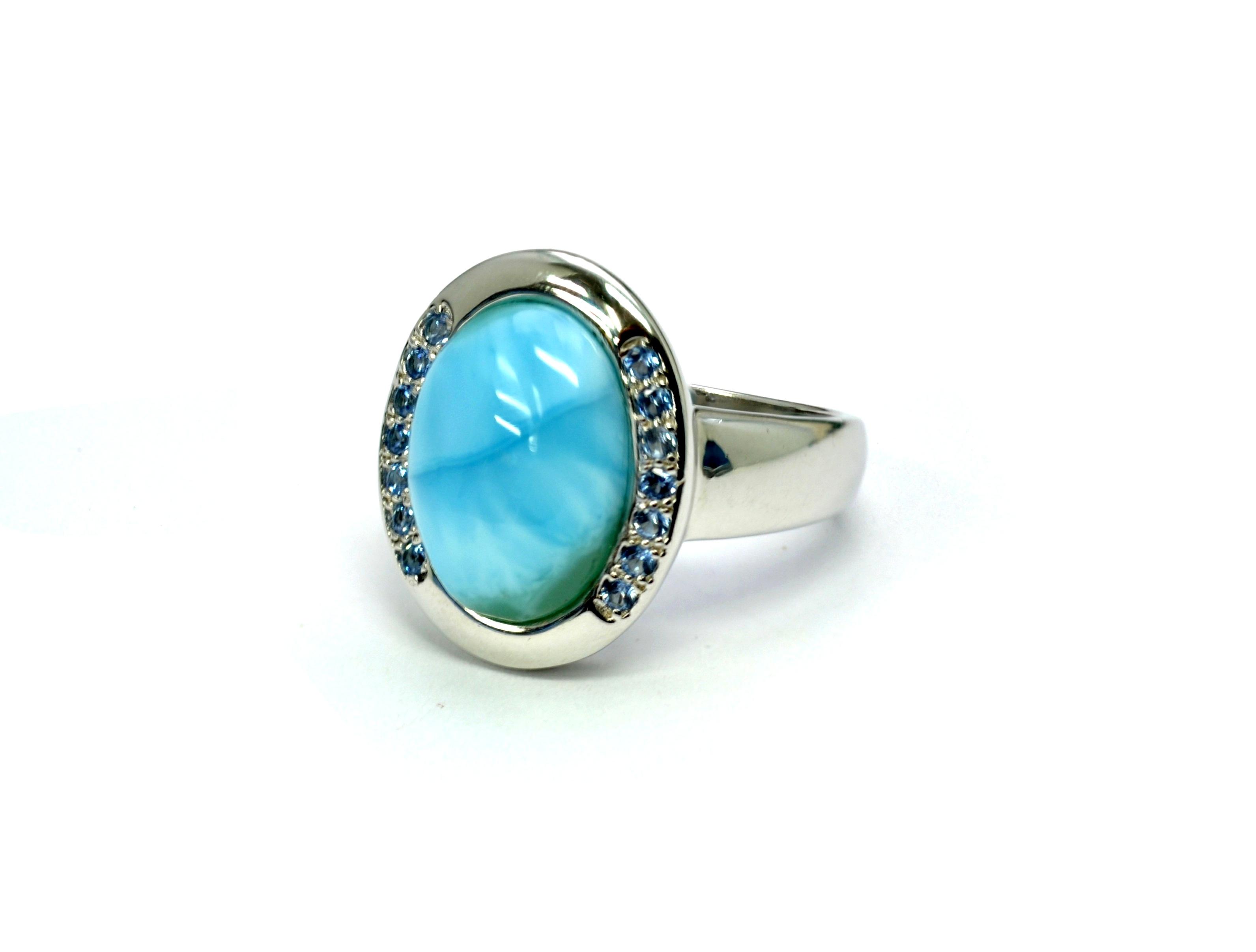 Larimar Aquamarine Combination 14X10mm Sterling Silver designer Ring.size 8.5